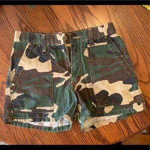 MUDD high waisted camo jean shorts